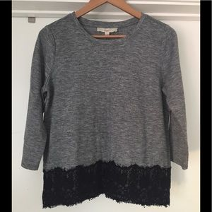 LOFT Grey w/ Black Trim Blouse